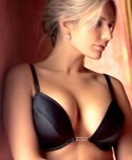 Splendour Black Frontless Satin Plunge Bra 36A Diamante Straps & Centre RRP £27
