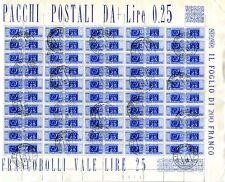 PACCHI POSTALI - 25 Cent. Ruota foglio intero da 100 pezzi