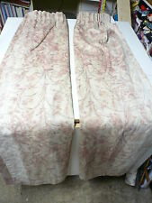 "One pair Vintage Pink and brown curtains Unlined by Wiltex 94""w by 54""d (each)"