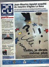 Tintin dans la Presse - 20 Minutes décembre 2006. Tintin au Centre Pompidou