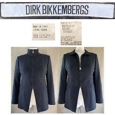 VINTAGE DIRK BIKKEMBERGS 90's EUR 46 US 12 Black Wool Blend Military Zip Jacket