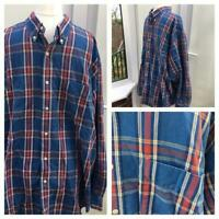 Marks and Spencer Shirt Mens xL VGC Check Heavy Cotton No Iron Blue Gjj