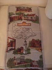 Vintage Retro Tea Towel Historical Victoria Souviner Linen Cotton