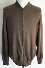 $2045 BRUNELLO CUCINELLI Brown 2Ply Cashmere Full Zip Cardigan Sweater Size XL