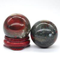 30MM Natural Blood Stone Crystal Healing Reiki Gemstone Shpere Massage Ball Gift