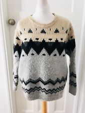 Topshop Fairisle Oversized Jumper 6 /8 /10 With Wool Grey Cream Black
