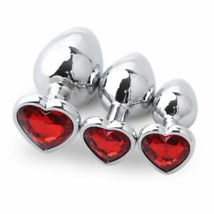 HEART Anal Butt Plug STAINLESS S/M/L Set Sex Toy For Women Men Metal Jewel Gifts