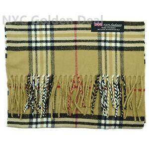 100% CASHMERE Scarf Scotland Checked Plaid Classic Design Beige Tartan Stripe