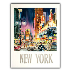SIGN METAL WALL PLAQUE - NEW YORK TIME SQUARE Retro Vintage poster art print