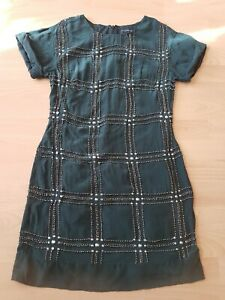 Size 6 FRENCH CONNECTION Green Silk Studded Short Sleeve Shift Dress