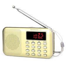 Portable FM Radio Rechargeable Battery LED display Flashlight AUX Audio Input US