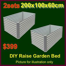 2sets of 200x100x60cm Prepainted steel raised garden bed planter box