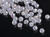 300x Wholesole 3mm Round Faceted Crystal Glass Charm Loose Spacer Beads Clear AB