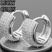 Diamond Huggie Hoop Earring(W 7.5mm)E428 925 Sterling Silver Iced Out Lab