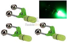 3x LED Night Fishing Bite Bait Alarm Twin 2 Bells Light Rod Tip Clip Alert Ring