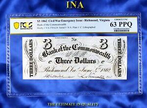 INA Virginia Richmond Bank of the Commonwealth $3 1862 Civil War Era PCGS 63 PPQ