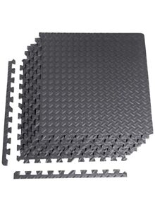 "CAP Barbell 6-Piece Puzzle Exercise Mat, Black, 1/2"" Thick, New"