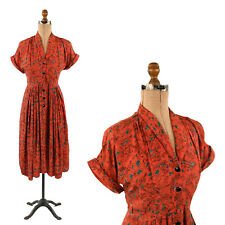 Vintage 40s Cool Rayon Red Garden Bridge Novelty Print Art Deco Summer Dress S
