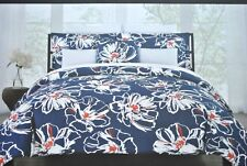 3Pc Max Studio Full Queen Duvet cover set Floral Blue Red White 100% Cotton New