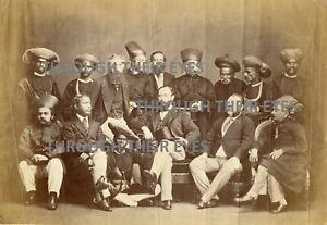 Original photo British & Indian high ranking men  Very early 1850's 60's ? India