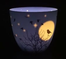 Light-Glow Golden Circle Candle Holder, Silent Night Birds Gift Moon Night-time
