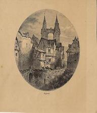 Stampa antica BOPPARD veduta in ovale Germania 1878 Alte Stich Old antique print
