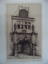 Archway of the Old Shrewsbury Grammar School. Signed Etching Edward Burrows.