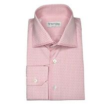 NWT GERLIN pink CHECK COTTON SHIRT Men Size 41 HANDMADE IN ITALY RTP $600