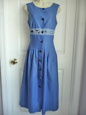 Tina Pedroni Dress 44 M 10 Blue Cotton Cutouts Details Pleated Made in Italy