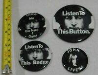 4 BUTTONS JOHN LENNON LISTEN TO THIS BUTTON BADGE GIVE PEACE A CHANCE PIN BACK