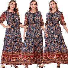 Богемный цветочный женский повседневный праздничный длинное платье макси лето кафтан одеяния выходное платье