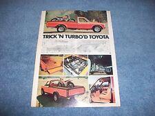 "1973 Toyota Custom Long Bed Vintage Article ""Trick 'N Turbo'D Toyota"" Yamahauler"