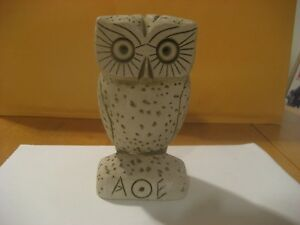 """Vintage 6"""" Porous Stone Owl Statue Figurine Made In Greece"""