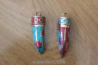 PN149 Ethnic Tibetan Brass Turquoise Coral Horn Pendant Handmade Tribal Jewelry