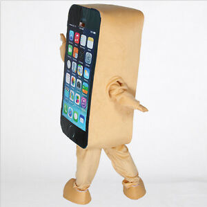 Mobile advertising Cell Phone Mascot Cosplay Costume Dress Adult Size halloween
