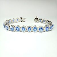 22.00 ct Sapphire and 2.50ct Diamond Halo Bracelet in 18k White Gold