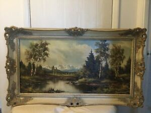 vintage landscape oil painting Framed And Signed ~ Mountain And River Scene