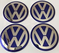 4x Blue 90mm VW ALUMINIUM Wheel Centre Caps Badge GOLF PASSAT