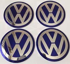 4x Blue 90mm VW ALUMINIUM Wheel Centre Caps Badge GOLF PASSAT