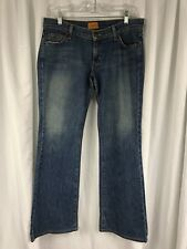 "James Preserved Denim Stretch Blue Jeans Flare Made in USA sz 30 x 32"" Inseam"