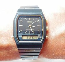 Gents Black/Gold Seiko Alarm Chrono Quartz H461A Bracelet Watch Serviced