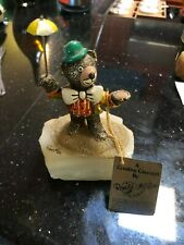 """1986 Ron Lee 5 1/2"""" x 4 3/4"""" Clown Bear with Umbrella 24K Plated and Trim"""