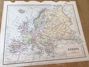 Antique Map Europe  Fr Phillips Atlas For Beginners 1892 9Inches By 7.inch
