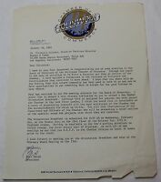 Hollywood Chamber of Commerce Letter, Board of Directors, signed by Bill Welsh