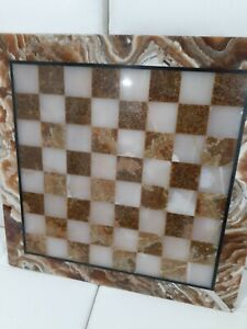 "100% Marble Chess Set White and Brown Coral Color All pieces included 20x20"" VTG"
