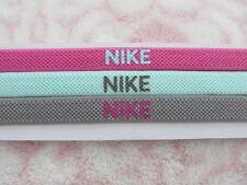 Nike Elastic Hairbands Headbands 3 Pack Crushed Berry/Laguna/Green Drab - New