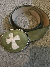 BNWOT Cheryl Dufault Rare Custom Design Artisan Belt & Cross Buckle Cowgirl 32