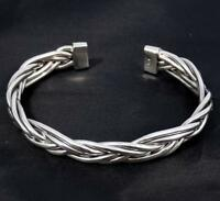 28g ARTISAN WOVEN BRAIDED TRIBAL 925 STERLING SILVER MENS WOMENS BANGLE CUFF