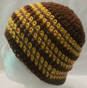 Brown and Gold striped NEW Handmade Crocheted Knit Beanie Skull Hat fits Adults