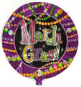 "Mardi Gras Beads Party Balloon 18"" Foil Mylar Decorations"